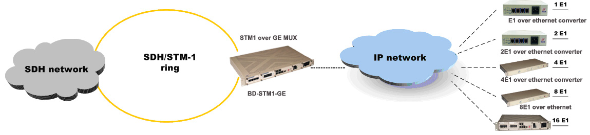SDH over Gigabit ethernet point to multipoint application