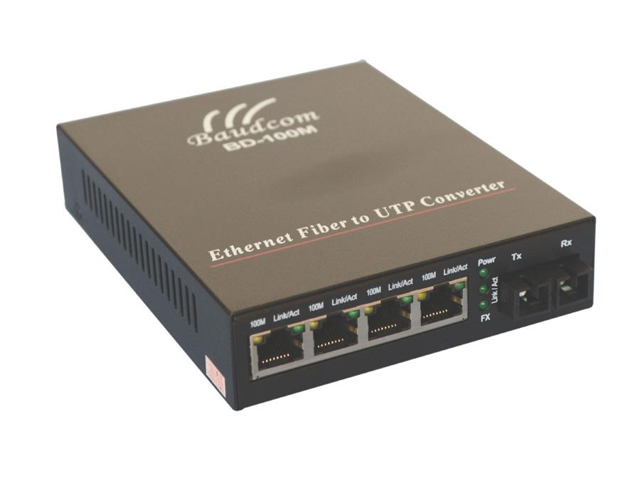 4 Ethernet Optical Fiber Media Converter Baudcom